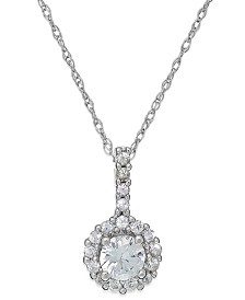 White Sapphire Halo Pendant Necklace in 14k White Gold (3/8 ct. t.w.)