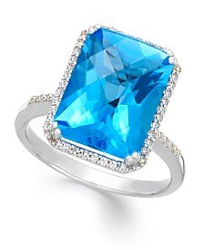 Blue Topaz (5 ct. t.w.) and Diamond (1/5 ct. t.w.) Ring in 14k White Gold