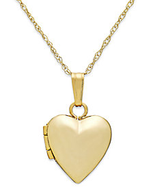 "Children's Heart 13"" Locket Necklace in 14k Gold"