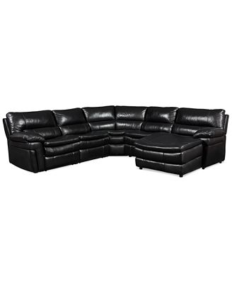 Xander Leather 5 Piece Chaise Sectional Sofa with 2 Power Recliners Furniture Macy s