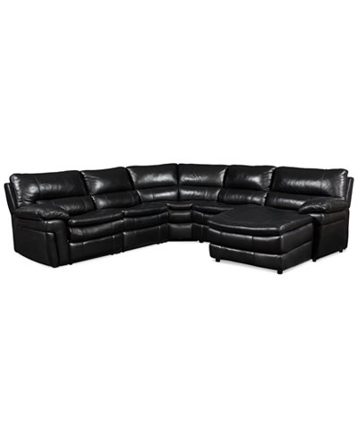 Xander leather 5 piece chaise sectional sofa with 2 power for Xander sectional sofa