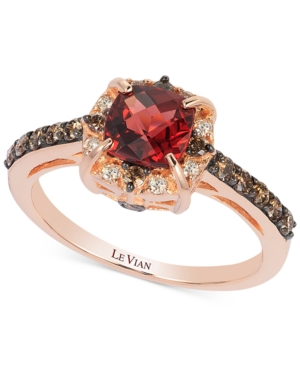 Chocolate by Petite Le Vian Garnet (1-1/6 ct. t.w.) and Chocolate Diamond (3/8 ct. t.w.) Ring in 14k Rose Gold