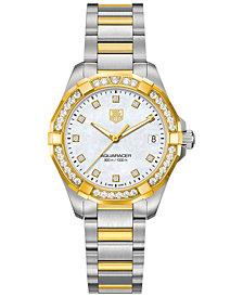 TAG Heuer Women's Swiss Aquaracer Diamond (3/5 ct. t.w.) Two-Tone Stainless Steel Bracelet Watch 32mm WAY1353.BD0917