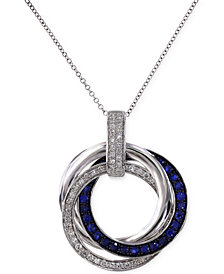 Royale Bleu by EFFY Sapphire (1/3 ct. t.w.) and Diamond (1/4 ct. t.w.) Circle Pendant Necklace in 14K White Gold