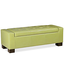 Charli Faux-Leather Storage Ottoman, Quick Ship