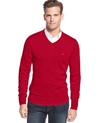 Tommy Hilfiger Signature Solid V-Neck Sweater - Sweaters - Men ...