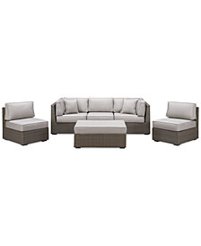 CLOSEOUT! South Harbor Outdoor 6-Pc. Modular Seating Set (2 Corner Units, 3 Armless Units and 1 Ottoman), Created for Macy's