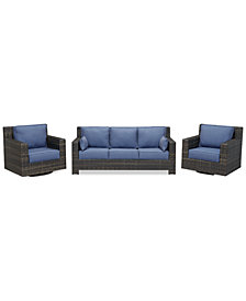 Viewport Outdoor Wicker 3-Pc. Seating Set (1 Sofa and 2 Swivel Gliders) with Sunbrella® Cushions, Created for Macy's