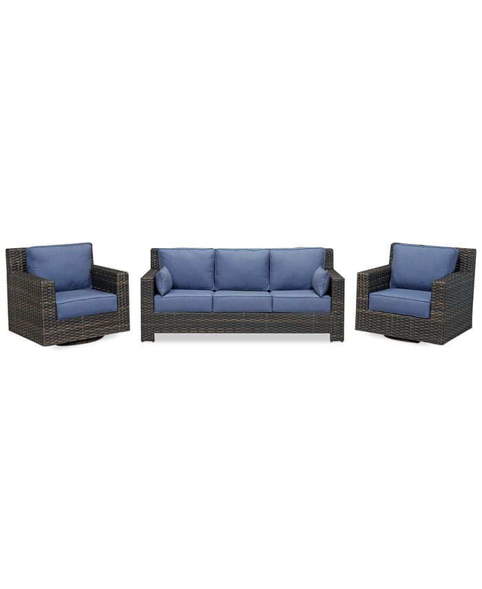 Furniture - 3-Piece Outdoor Seating Set: Sofa and 2 Swivel Club Chairs