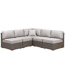 CLOSEOUT! South Harbor Outdoor 5-Pc. Outdoor Modular Seating Set (1 Corner Unit and 4 Armless Units), Created for Macy's