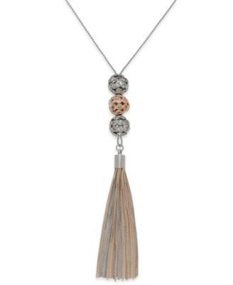 Image of INC International Concepts Triple Ball Tassel Necklace