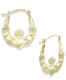 Claddagh Hoop Earrings in 10k Gold, 16mm