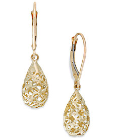 Filigree Leverback Drop Earrings in 10k Gold