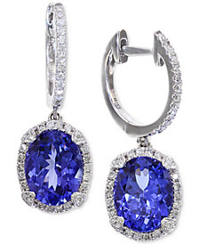 EFFY® Tanzanite (3-3/8 ct. t.w.) and Diamond (1/3 ct. t.w.) Hoop Earrings in 14k White Gold, Created for Macy's