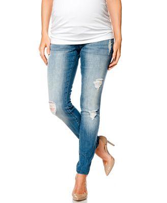 Indigo Blue Premium Deconstructed Maternity Skinny Jeans, Indigo ...