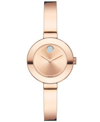Women's Swiss Bold Rose Gold Ion-Plated Stainless Steel Bangle Bracelet Watch 25mm 3600286