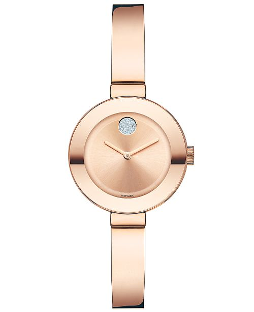 47574d5223 ... Movado Women's Swiss Bold Rose Gold Ion-Plated Stainless Steel Bangle  Bracelet Watch 25mm 3600286 ...