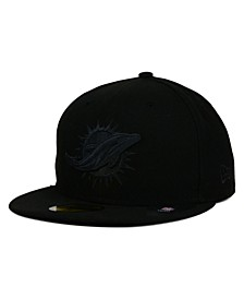 Miami Dolphins Black on Black 59FIFTY Fitted Cap