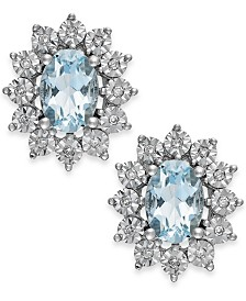 Aquamarine (1-1/3 ct. t.w.) and Diamond Accent Stud Earrings in 14k White Gold