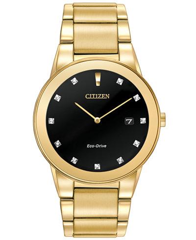 Citizen Men's Eco-Drive Axiom Diamond Accent Gold-Tone Stainless Steel Bracelet Watch 40mm AU1062-56G