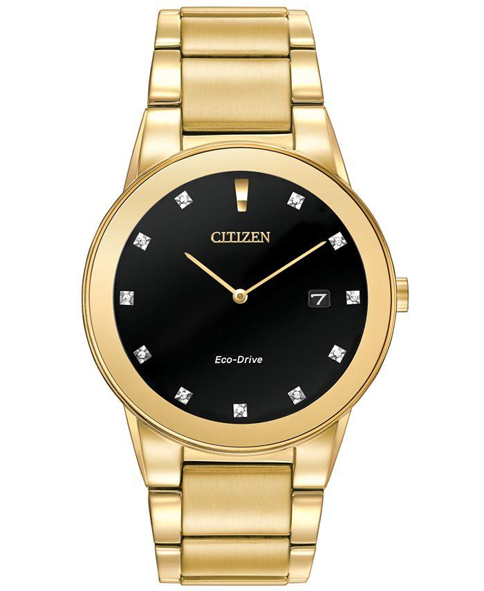 Citizen - Men's Eco-Drive Axiom Diamond Accent Gold-Tone Stainless Steel Bracelet Watch 40mm AU1062-56G