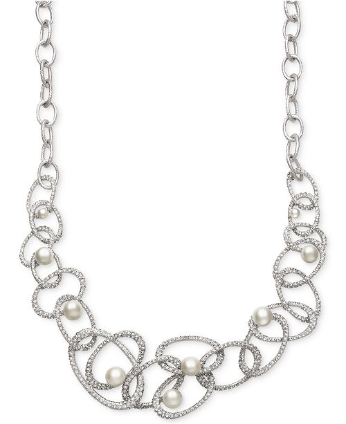 Bridal Cultured Freshwater Pearl (5-10mm) and Crystal Linked Frontal Necklace in Silver Plated Brass