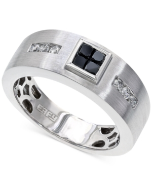 Effy Men's Black and White Diamond Ring in 14k White Gold (1/2 ct. t.w.)