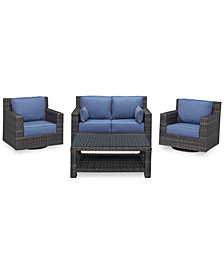 Viewport Outdoor Wicker 4-Pc. Seating Set (1 Loveseat, 2 Swivel Gliders and 1 Coffee Table), Created for Macy's