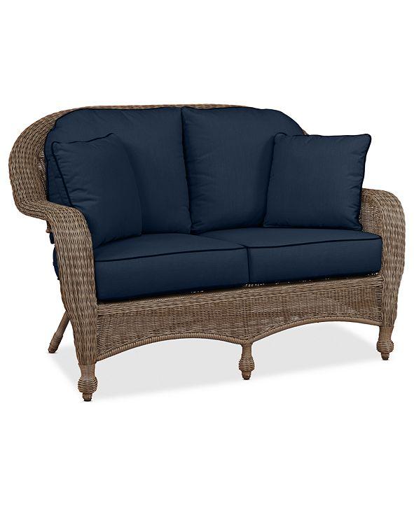 Furniture Sandy Cove Wicker Outdoor Loveseat: Custom Sunbrella®, Created for Macy's