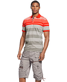 Sean John Striped Polo & Flight Shorts