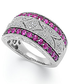 Ruby (5/8 c.t. t.w.) and Diamond (1/10 c.t. t.w.) Antique Band in Sterling Silver