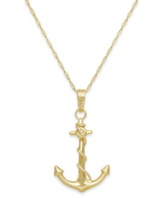 Mens Anchor Pendant Necklace in 10k Gold Necklaces Jewelry