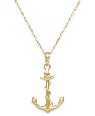 Macys mens anchor pendant necklace in 10k gold necklaces macys mens anchor pendant necklace in 10k gold necklaces jewelry watches macys aloadofball Choice Image