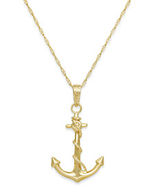 Men's Anchor Pendant Necklace in 10k Gold