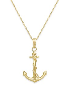 Mens necklaces shop mens necklaces macys mens anchor pendant necklace in 10k gold mozeypictures Image collections