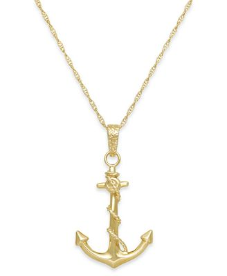 s anchor pendant necklace in 10k gold necklaces