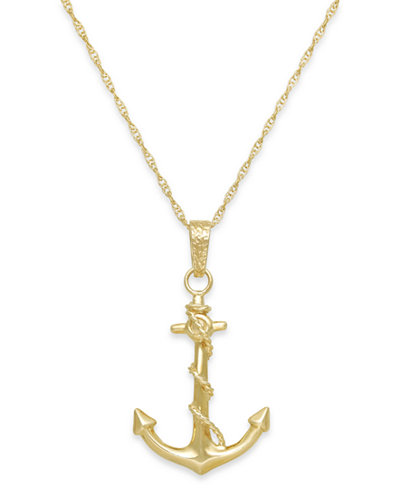 Men S Anchor Pendant Necklace In 10k Gold Necklaces