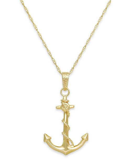 Macys mens anchor pendant necklace in 10k gold necklaces main image aloadofball Image collections
