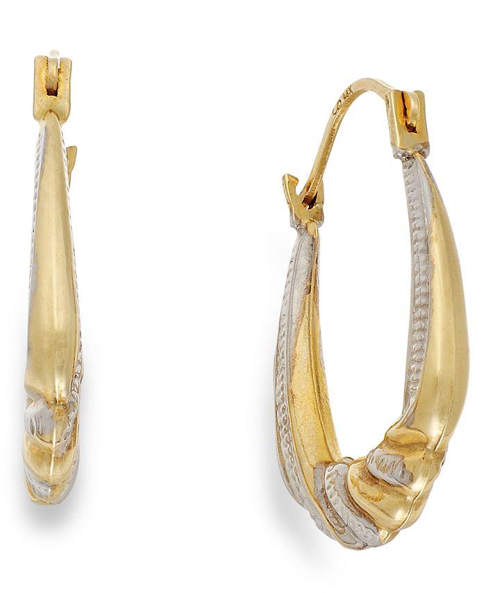 Macy's - Two-Tone Shrimp Hoop Earrings in 10k Gold