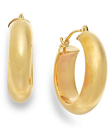 Wide Hoop Earrings in 10k Gold