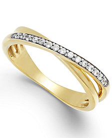 Diamond (1/10 ct. t.w.) Crossover Ring in 10k Gold