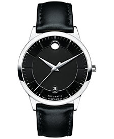 Movado Unisex Swiss 1881 Automatic Black Leather Strap Watch 40mm 0606873
