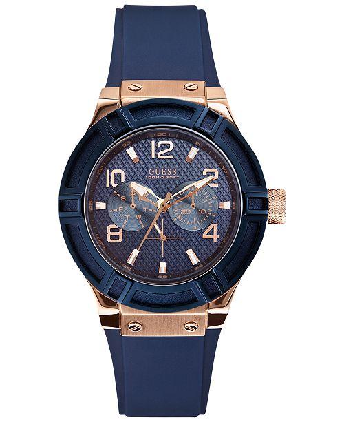 a79f4cb76e0f6 GUESS Women s Blue Silicone Strap Watch 39mm U0571L1   Reviews