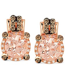 Peach Morganite (1-3/4 ct. t.w.) and Diamond (1/4 ct. t.w.) Earrings in 14k Rose Gold, Created for Macy's