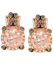 Le Vian Peach Morganite (1-3/4 ct. t.w.) and Diamond (1/4 ct. t.w.) Earrings in 14k Rose Gold, Created for Macy's