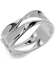 Silver-Tone Sculptural Hinged Bangle Bracelet
