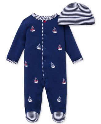 Baby Boys Hat & Sailboat Coverall Set