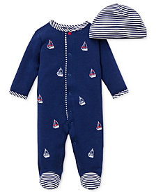 Little Me Baby Boys Hat & Sailboat Coverall Set