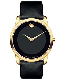 Movado Unisex Swiss Museum Classic Black Leather Strap Watch 40mm 0606876