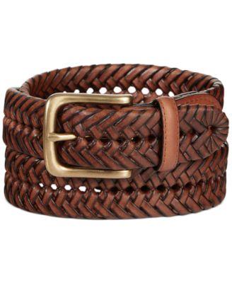 belts for men designer 35m6  Tommy Hilfiger Braided Leather Belt
